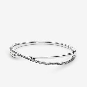 Pandora Entwined Bangle Bracelet, Clear CZ